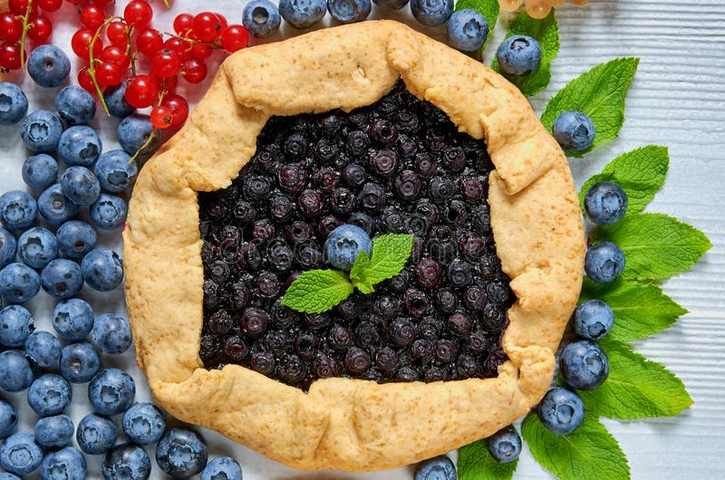 Homemade blueberry tart with mint leaves close up on the gray concrete background. Vegetarian healthy galette with fresh blueberry stock photo