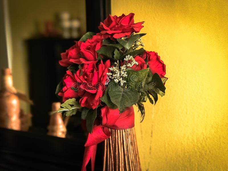 Homemade bouquet of red rosses stock images