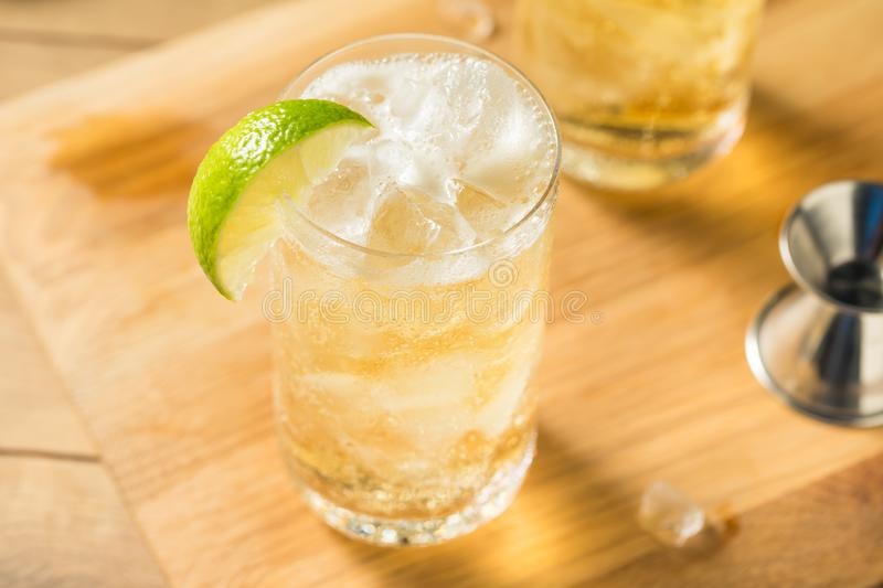 Homemade Bourbon Whiskey Ginger Lime. With Ice stock photography
