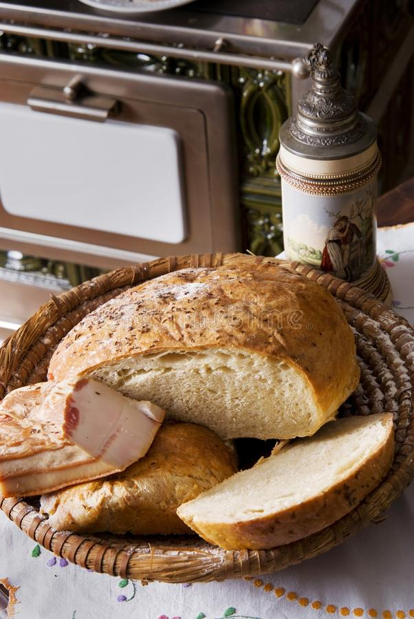 Download Homemade Bread And Bacon In A Basket Stock Image - Image: 22623791