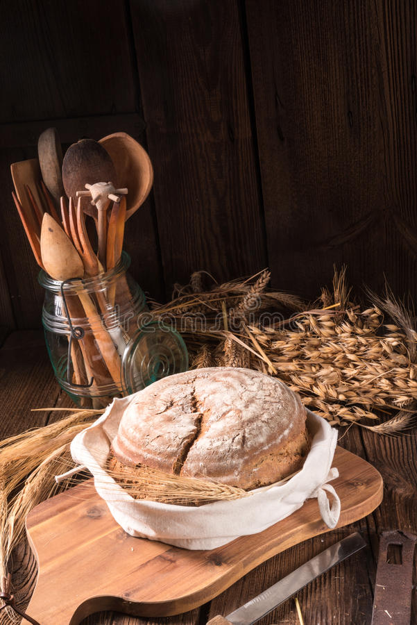 Homemade bread. A fresh and tasty homemade bread royalty free stock photography