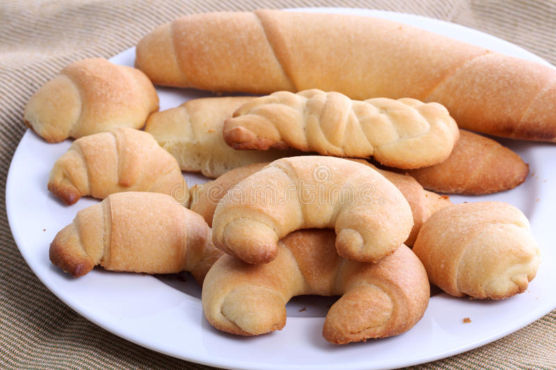 Homemade bread rolls stock images