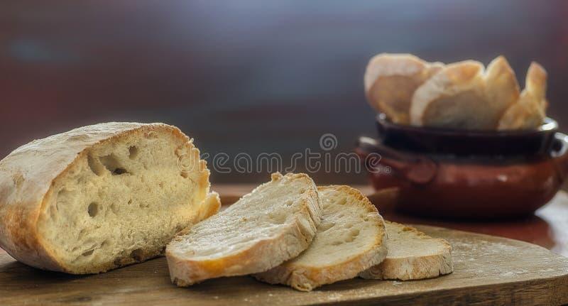Homemade bread sliced royalty free stock photos