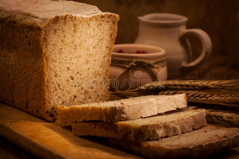 Homemade bread with sliced stock image