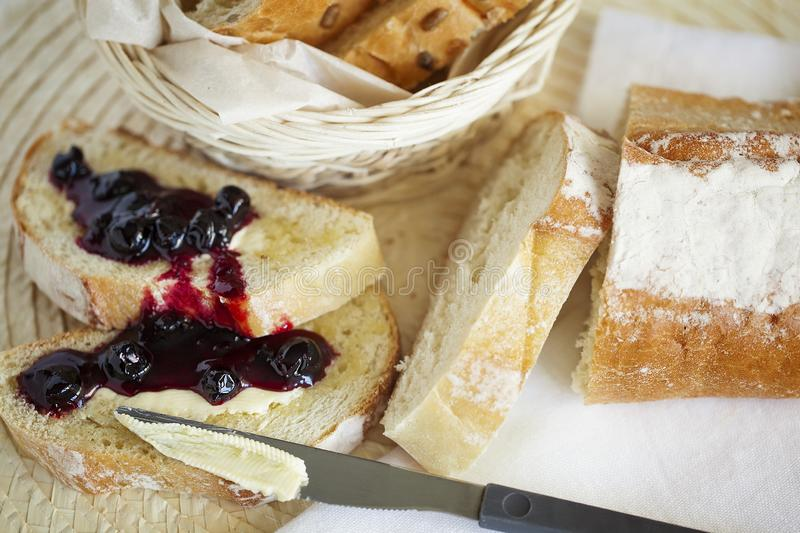 Homemade Breakfast toast with butter and jam. Healthy food. Closeup. royalty free stock images