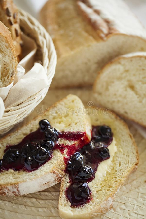 Homemade Breakfast toast with butter and jam. Healthy food. Closeup. royalty free stock photography