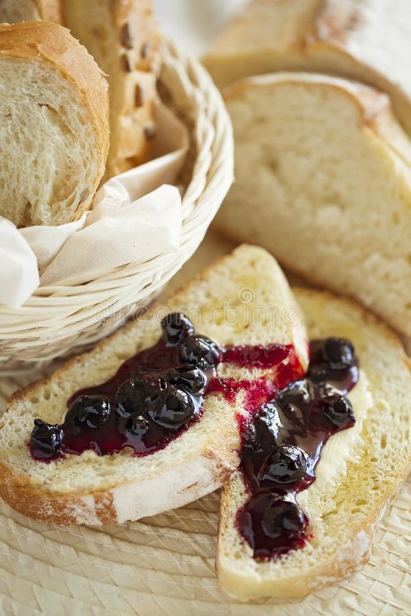 Homemade Breakfast toast with butter and jam. Healthy food. Closeup. royalty free stock photo
