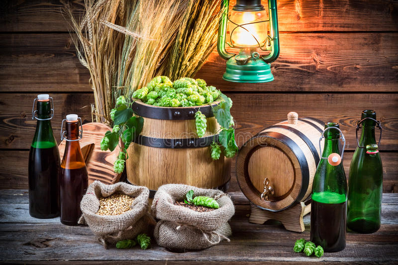 Homemade brewing beer in the cellar stock photography