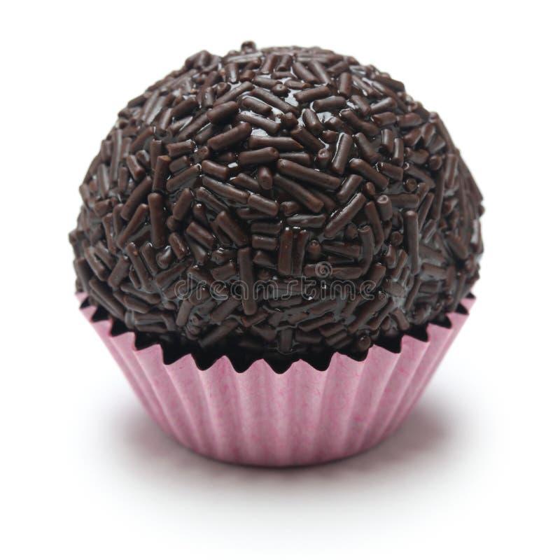 Homemade brigadeiro, brazilian chocolate truffle. Sweet isolated on white background royalty free stock images