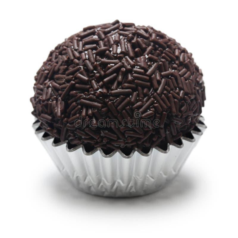 Homemade brigadeiro, brazilian chocolate truffle. Sweet isolated on white background royalty free stock photo