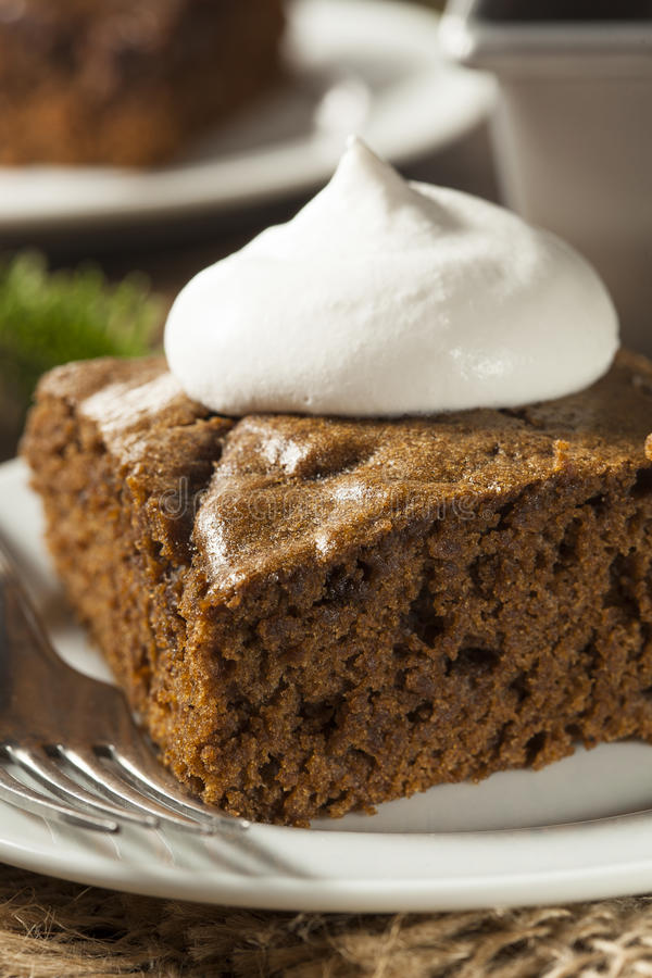 Homemade Brown Gingerbread Cake. With Whipped Cream stock photo