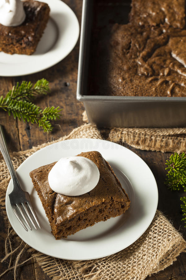 Homemade Brown Gingerbread Cake. With Whipped Cream stock photography