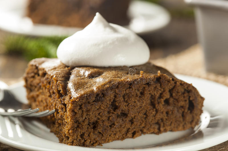 Homemade Brown Gingerbread Cake. With Whipped Cream royalty free stock photos