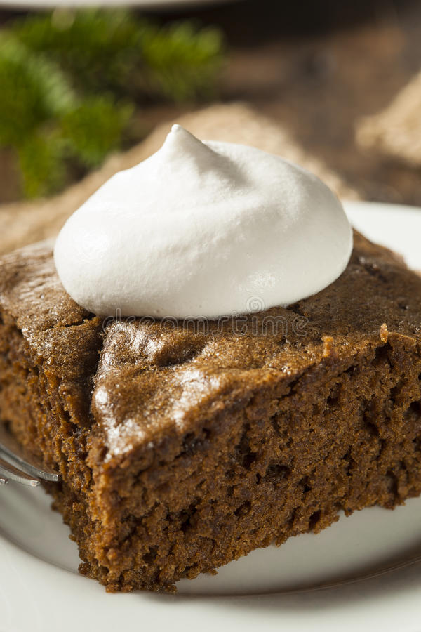 Homemade Brown Gingerbread Cake. With Whipped Cream royalty free stock images