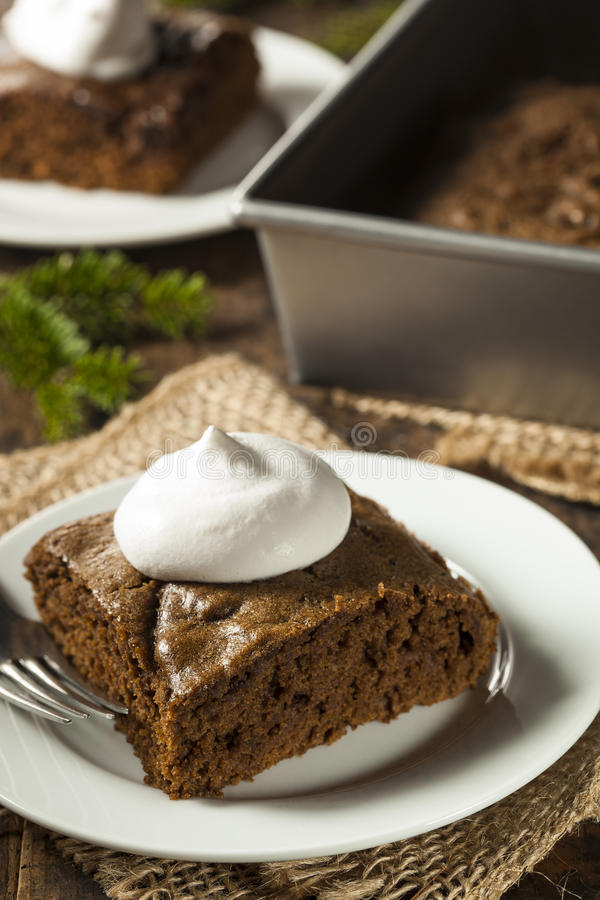 Homemade Brown Gingerbread Cake. With Whipped Cream stock photos