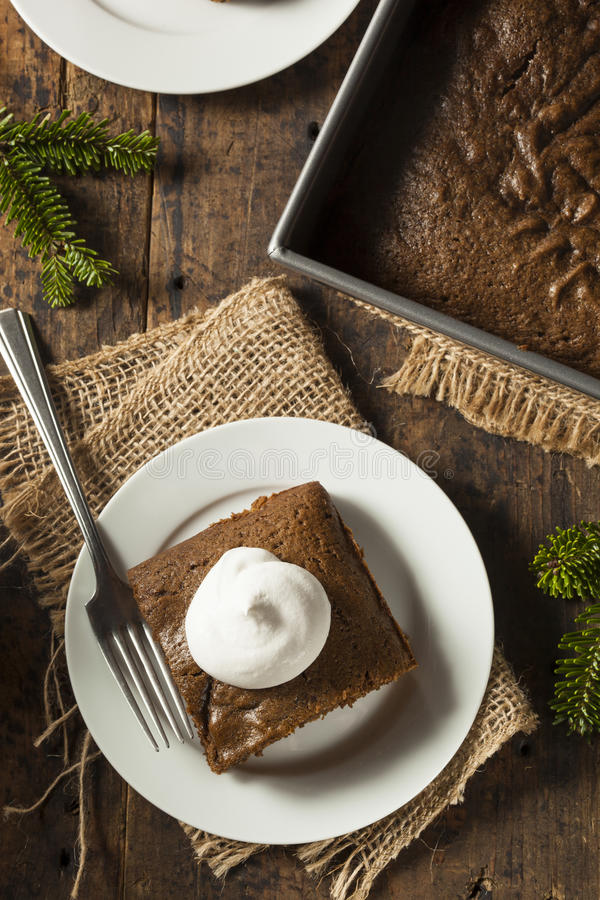 Homemade Brown Gingerbread Cake. With Whipped Cream stock images
