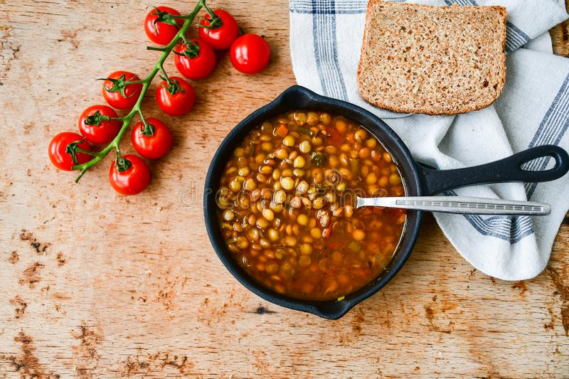 Homemade Brown Lentil soup royalty free stock photography