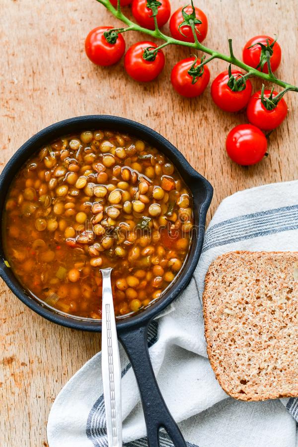 Homemade Brown Lentil soup royalty free stock photo