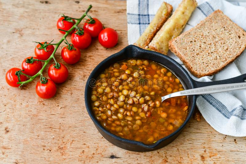 Homemade Brown Lentil soup royalty free stock images