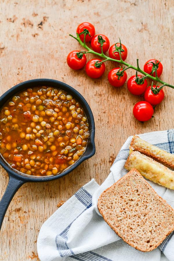 Homemade Brown Lentil soup royalty free stock photos