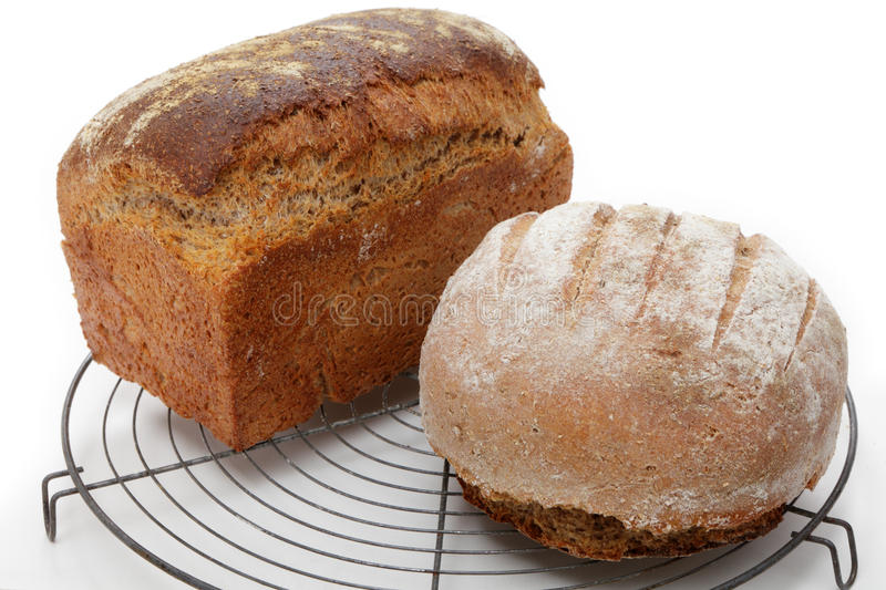 Homemade brown loaves royalty free stock photo