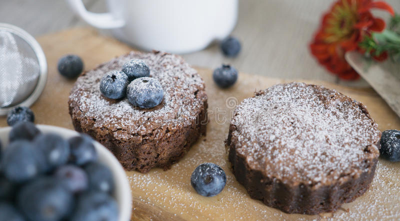 Homemade brownies with chocolate and blueberries stock photo