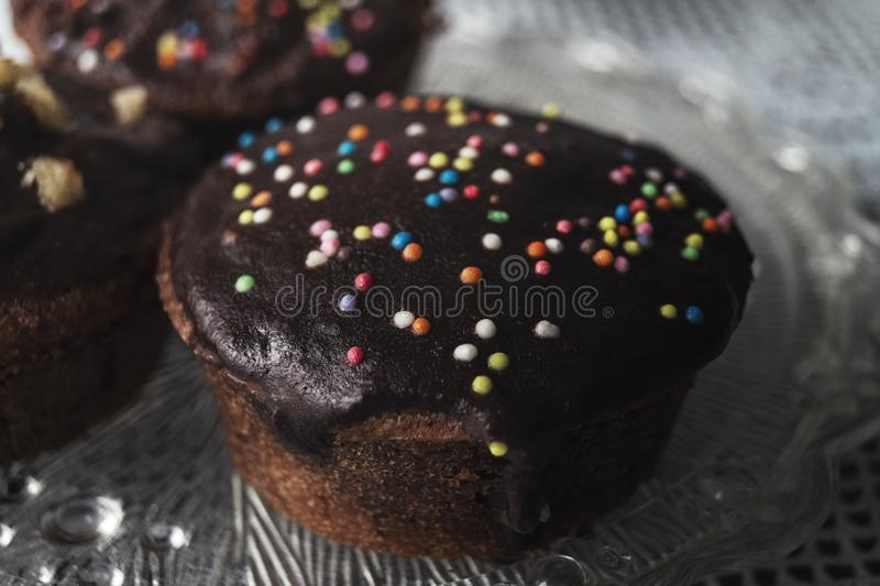 Homemade brownies with dark chocolate. Close up stock images