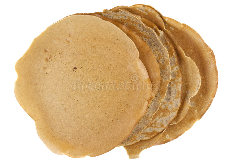 Homemade buckwheat flour crepes. Stack of homemade buckwheat flour crepes with irregular edges isolated on white stock photography