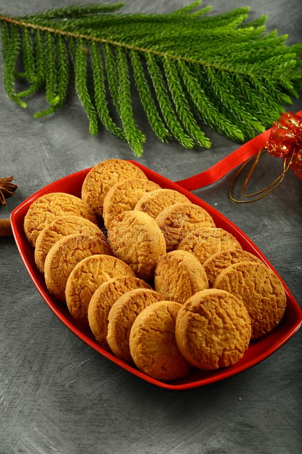 Homemade butter cookies, celebrations background royalty free stock image
