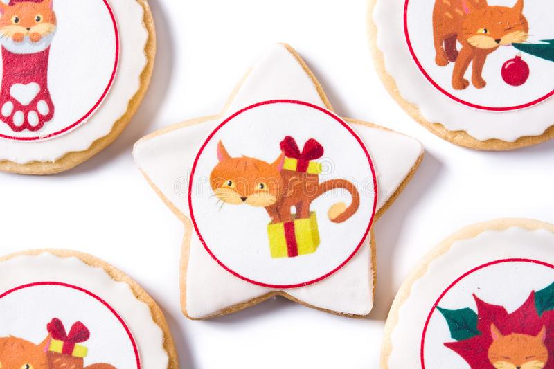Homemade butter cookies with a printed Christmas cat design isolated on white background. Top view royalty free stock image