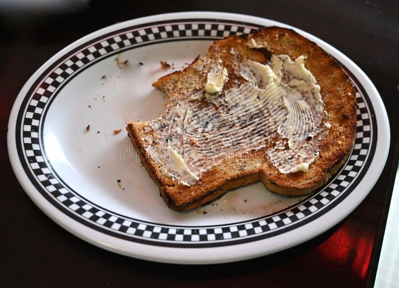 Homemade Buttered Toast royalty free stock photo