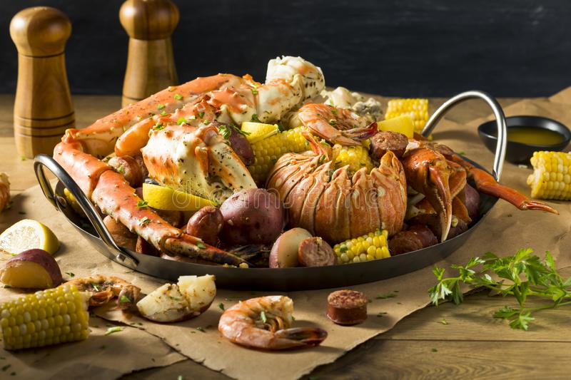 Homemade Cajun Seafood Boil. With Lobster Crab and Shrimp stock image