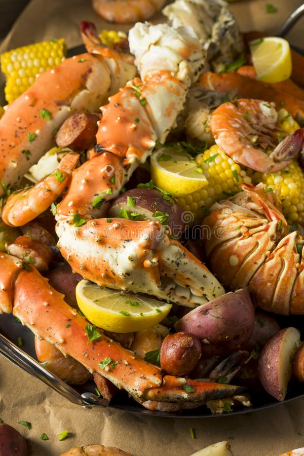Homemade Cajun Seafood Boil. With Lobster Crab and Shrimp royalty free stock photography