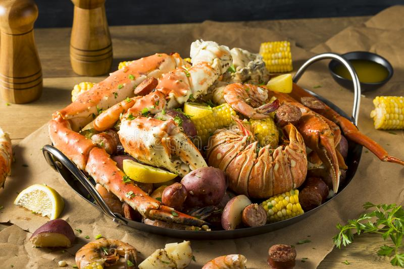 Homemade Cajun Seafood Boil. With Lobster Crab and Shrimp stock photography