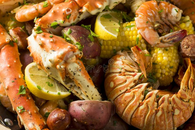 Homemade Cajun Seafood Boil. With Lobster Crab and Shrimp royalty free stock image