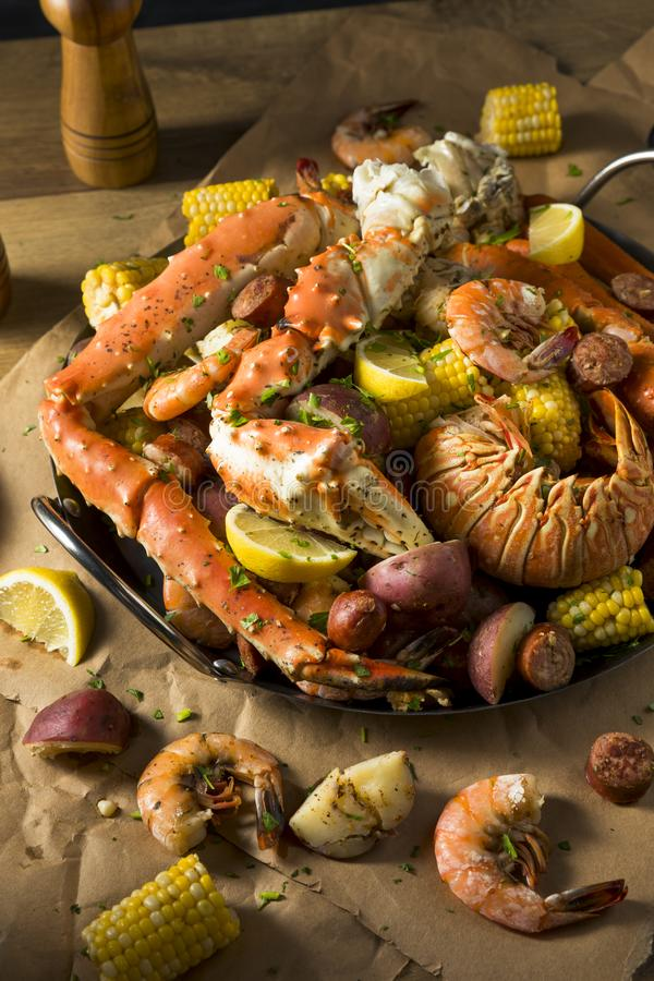 Homemade Cajun Seafood Boil. With Lobster Crab and Shrimp royalty free stock photos