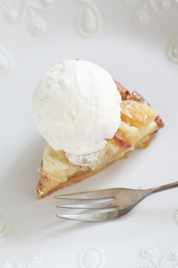 Homemade cake with ice cream royalty free stock image