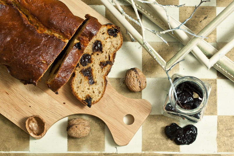 Homemade Cake With Prunes Royalty Free Stock Image
