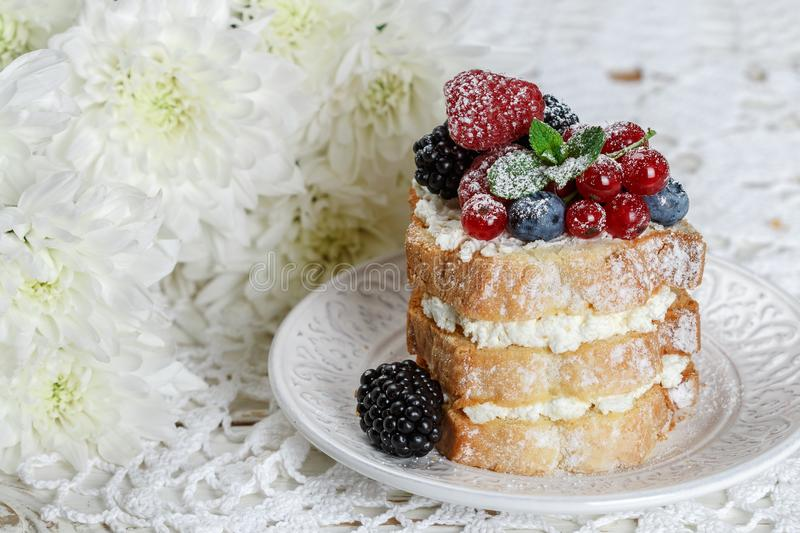 Homemade cake with ricotta and fresh berries-raspberries, red currants, blueberries and blackberries with mint and powdered sugar royalty free stock photo
