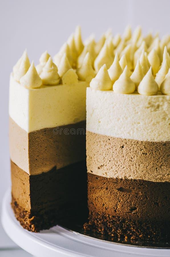 Cake Three Chocolate royalty free stock images