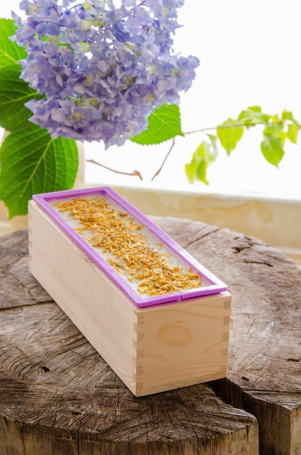 Homemade calendula natural herbal soap stock photos