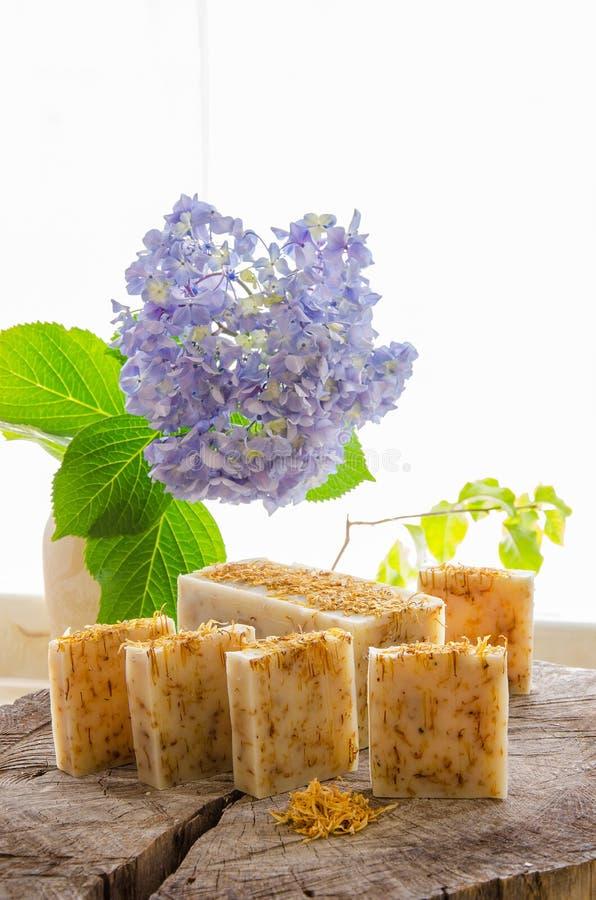Homemade calendula natural herbal soap royalty free stock photography