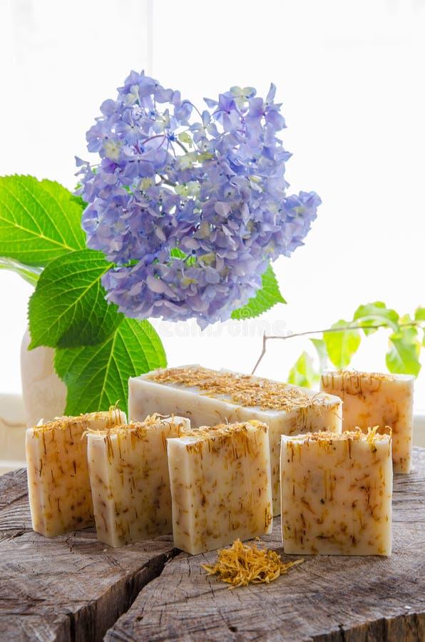 Homemade calendula natural herbal soap stock image