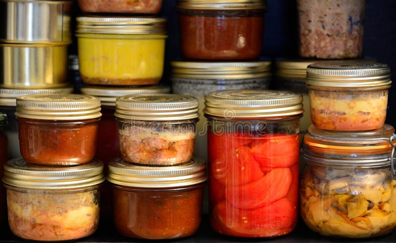 Homemade canned food stock photo