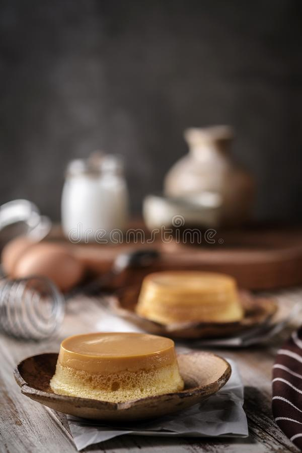 homemade caramel custard pudding with mint royalty free stock photography