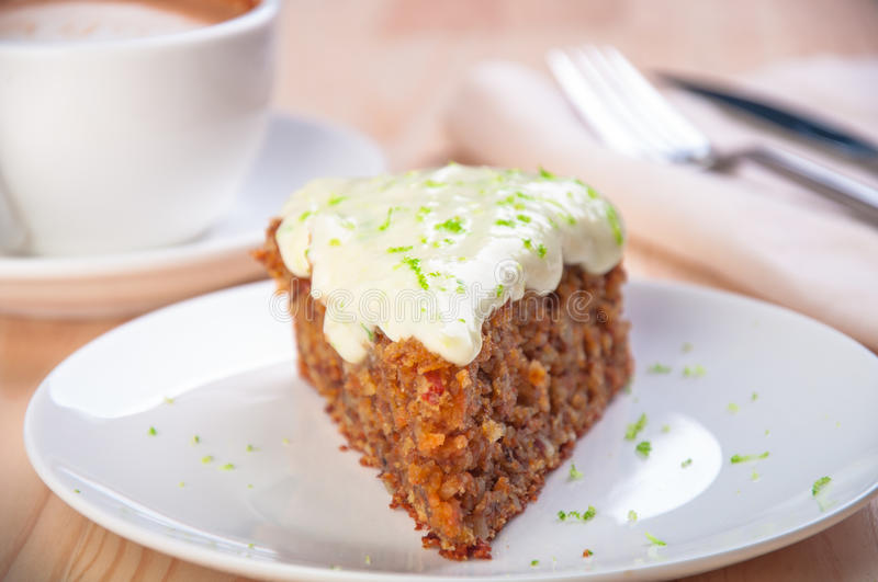 Homemade carrot cake dessert on the white plate royalty free stock photography