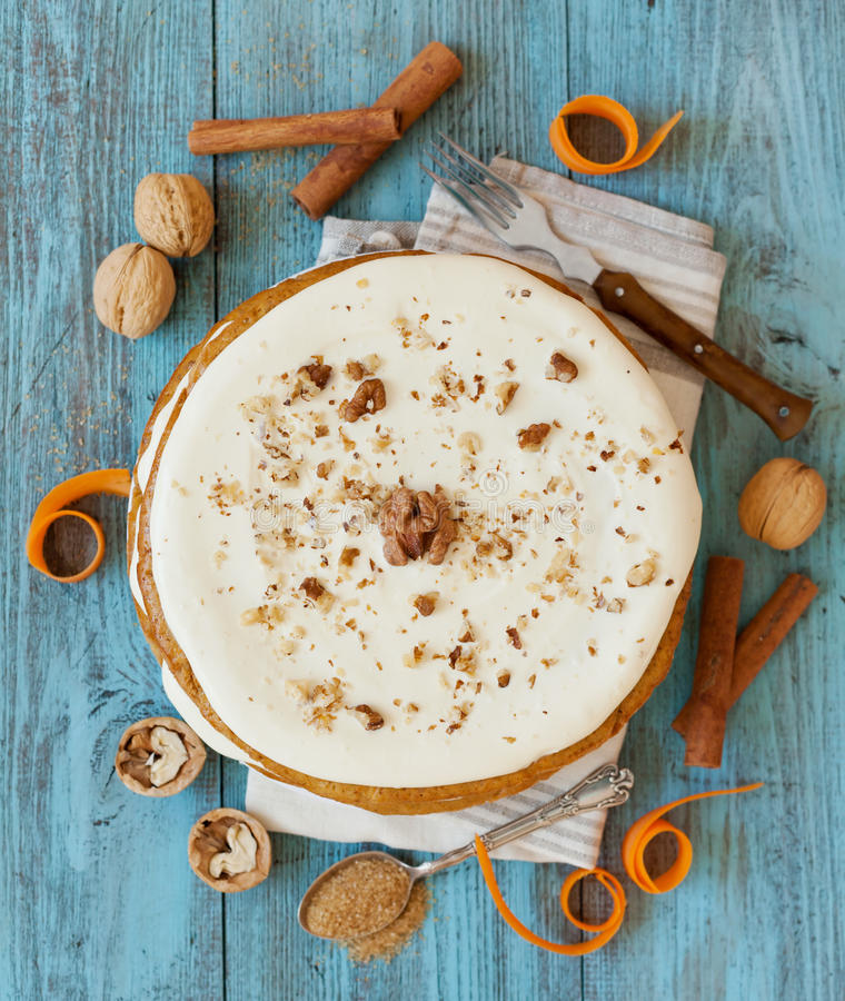 Homemade carrot cake whole. Top view stock photos