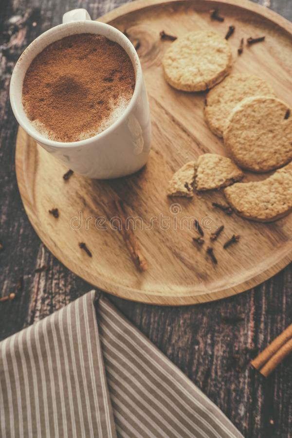 Homemade Chai Tea with Biscuits stock photo