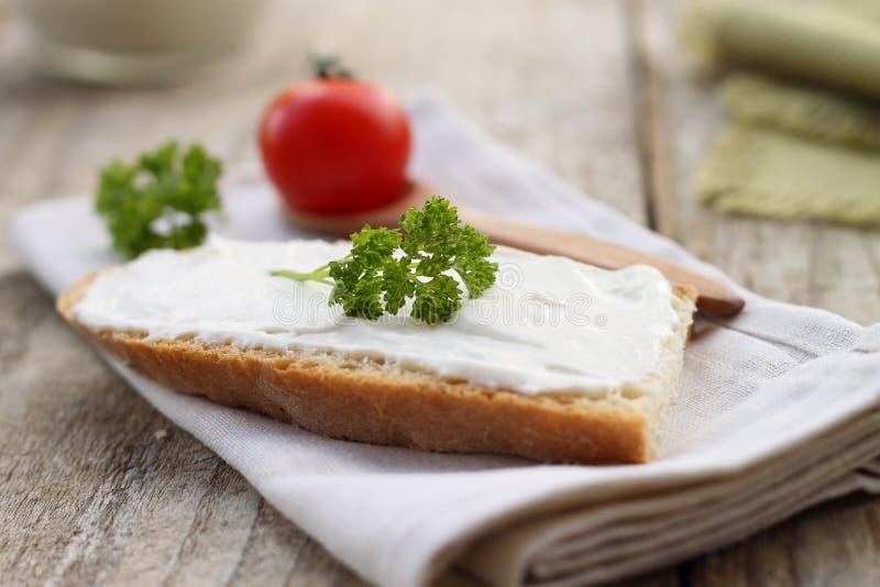 Homemade cheese cream. Homemade delicious cheese cream for breakfast stock photos