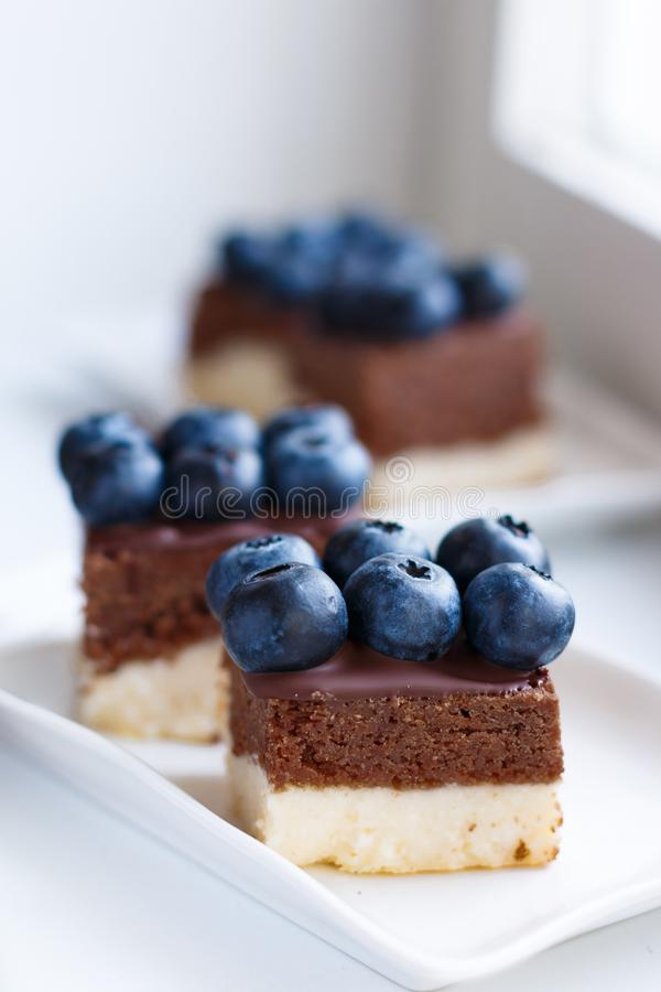Homemade cheesecake in colors of Estonian flag blue-black-white stock photography
